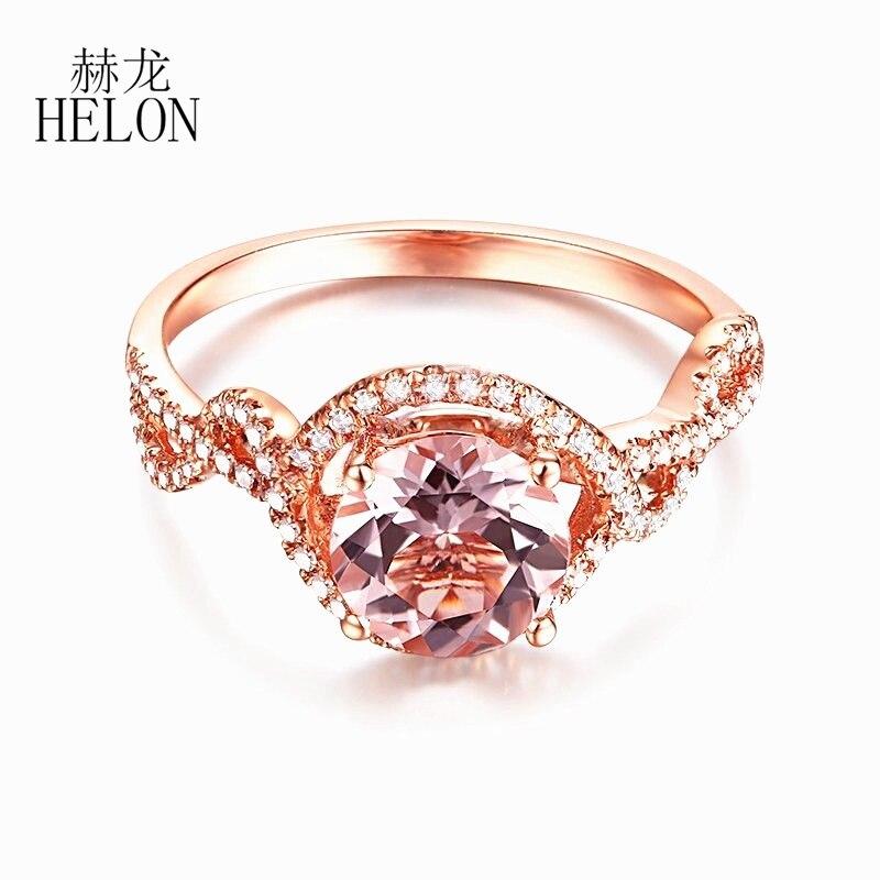 HELON Solid 14K Rose Gold Round Cut 7mm Pink Morganite Natural Diamonds Ring Engagement Wedding Gemstone Fine Ring Setting