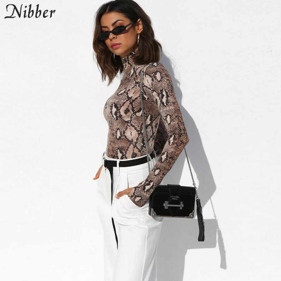 Nibber осенние женские боди 2018 новые модные сексуальные колготки полувысокий воротник с длинными рукавами комбинезон змеиная узорная ветровка