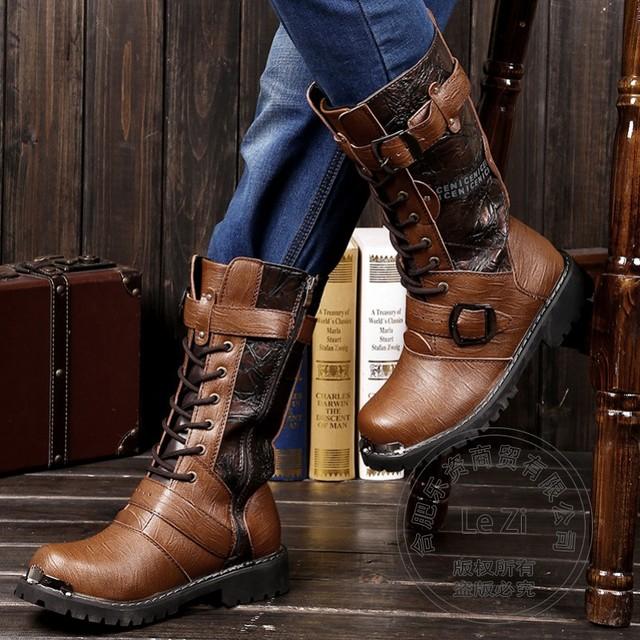 Zip Biker Militares de Seguridad Chukker Botas Hi Calle Primavera Otoño Hit Color Medio Hombres Cinturón de Moda de Lentejuelas Zapatos de Aumento de Altura