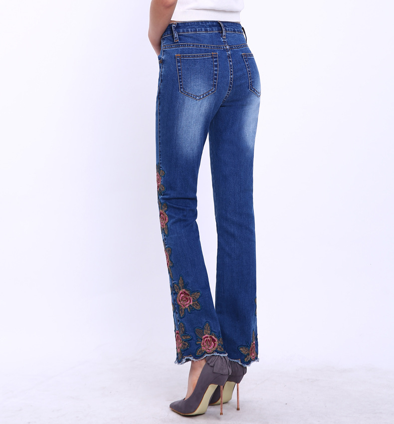 KSTUN FERZIGE Fashion Women Jeans with Embroidery Floral Design Flare Pants Bell Bottoms Boot Cut Slim Business Woman Sexy Ladies 36 20