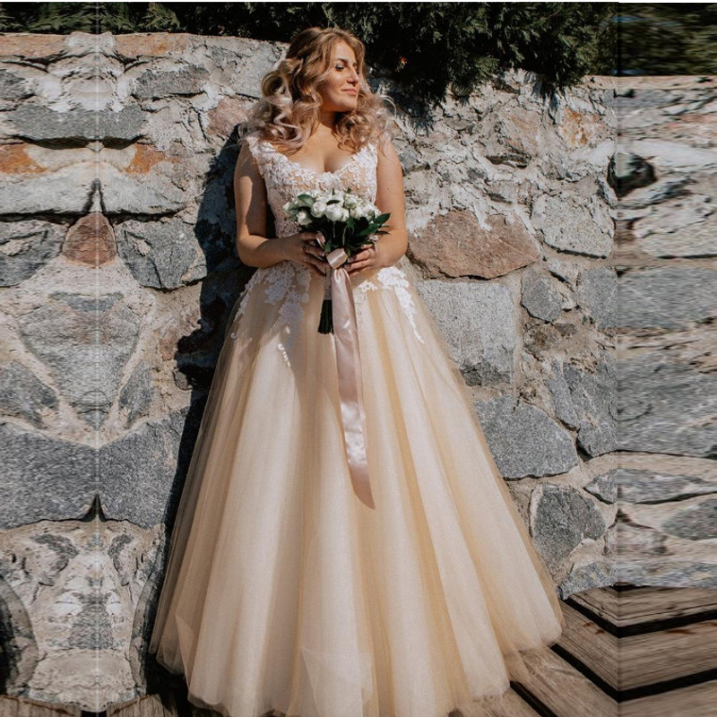 Champagne Wedding Dress 2019 Lace Appliques Wedding Gowns Tulle Bridal Dresses Sleeveless Vestido De Noiva Free Shipping