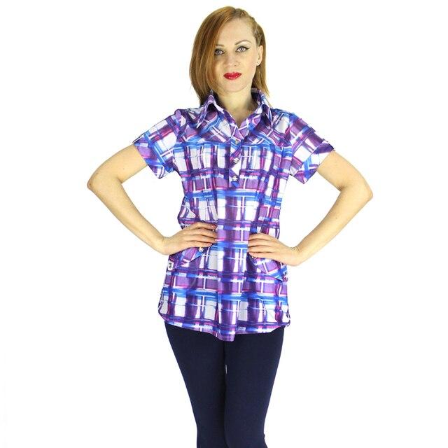 BFDADI 2016 летом свободного покроя модный плед футболки новые поступление женские с коротким рукавом тройники рубашки для женщины 4 цветов бесплатная доставка 9287