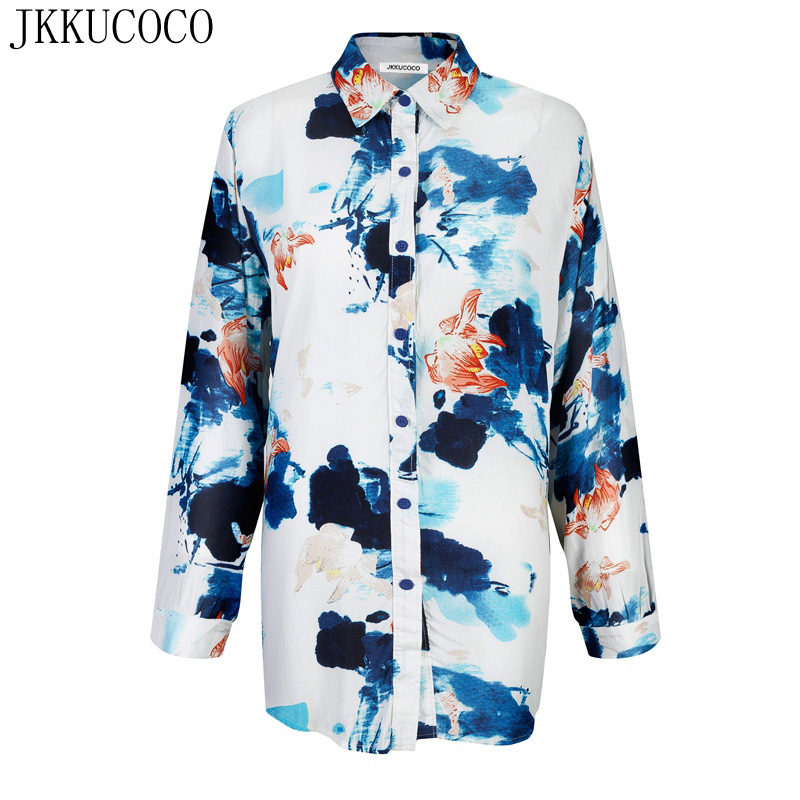 JKKUCOCO Women shirt Ink Lotus Flowers Print Fashion Brand shirts Long Style Cotton Shirt for Women