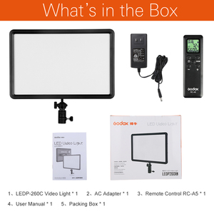 Image 2 - Godox LEDP260C 3300~5500K LED Bi Color & Dimmable Studio Video Light Lamp Panel for Camera DV Camcorder+ Free AC adapter