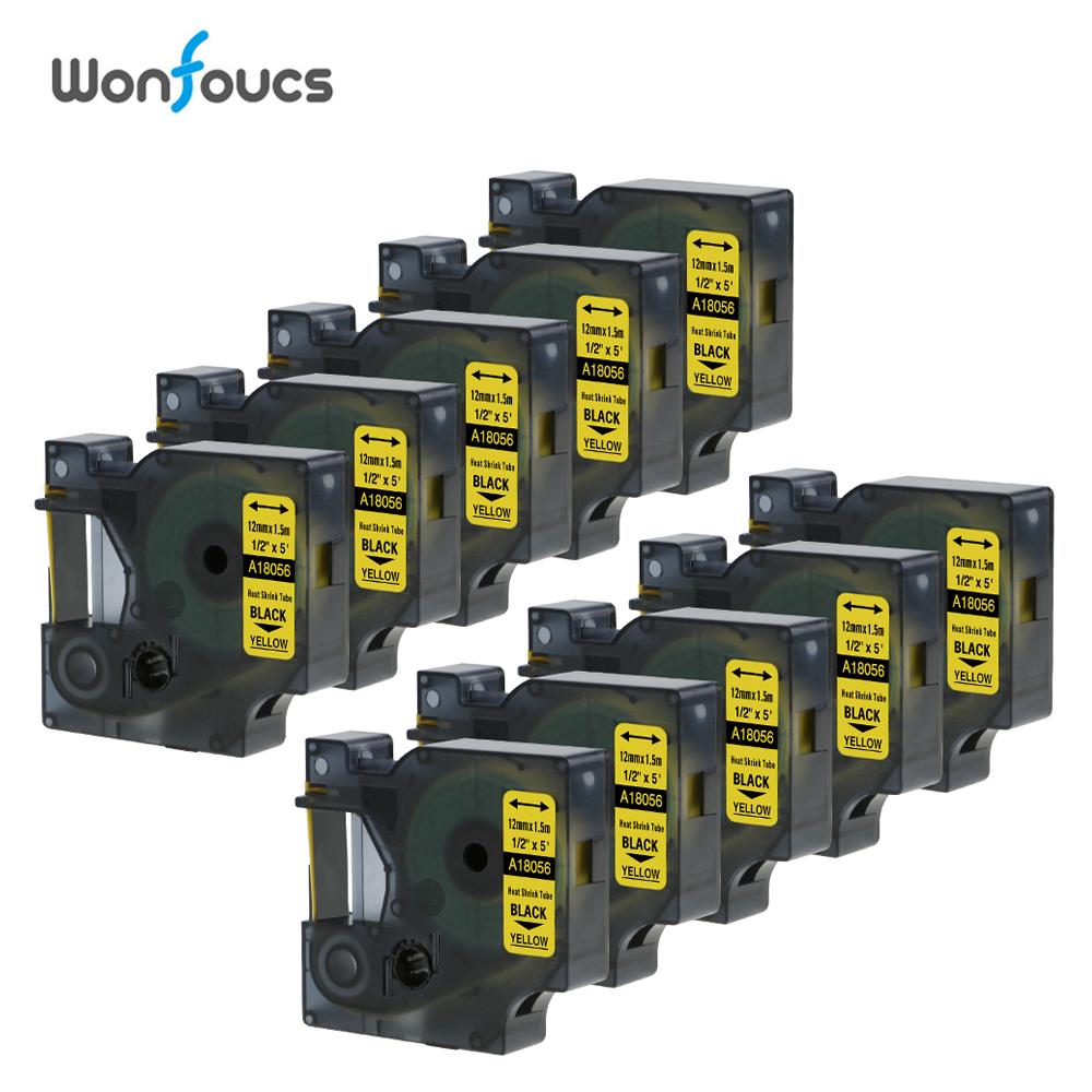 Dymo Compatible Industrial Heat Shrink Tubes 10 Packs 18056 Wire Cable Labels Black On Yellow IND