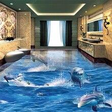 beibehang Custom fashion waterproof papel de parede wallpaper 3D cliff waterfall sea wood ladder bathroom walkway floor behang