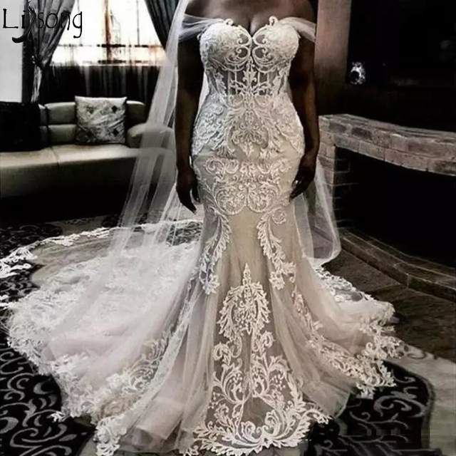 Luxury Mermaid Wedding Dresses Illusion Satin Lace Appliques Off Shoulder Wedding Dress Lace Up Elegant Bridal Gown