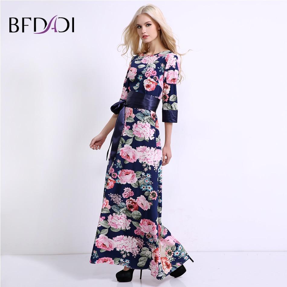 BFDADI 2017 New Summer Vintage Women Floral Long Dress 3/4