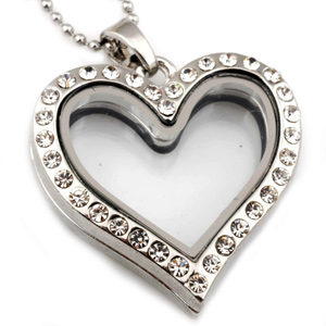 M00016 metal heart charm locket without chain locket neaklace pendant magentic floating  ...