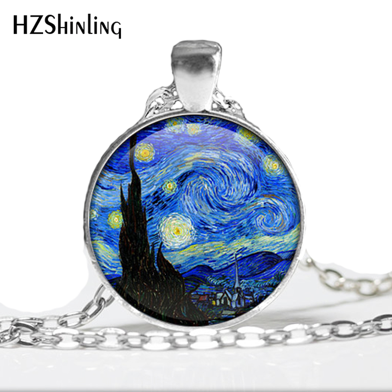 The Starry Night by Vincent Van Gogh 1889- Handmade Keepsake Pendant - Impressionism - Stars - Blue - Night Time - Evening Star