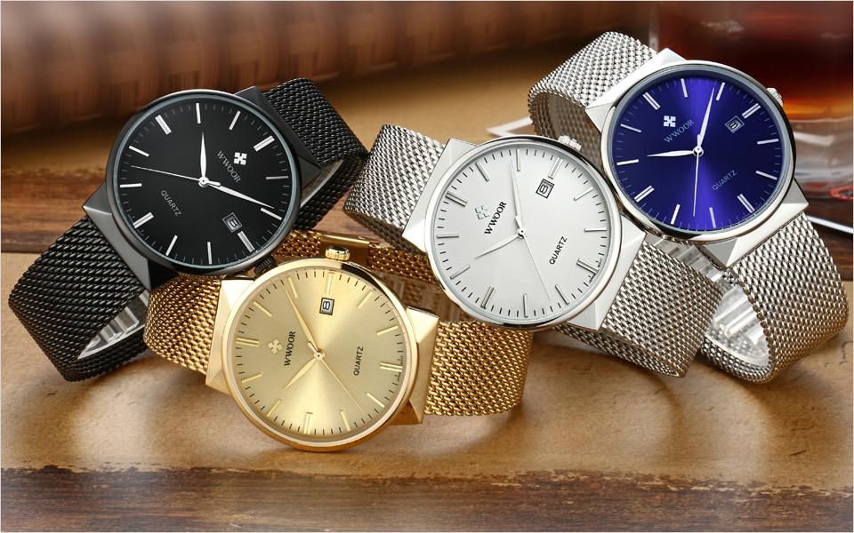 WWOOR Brand Luxury Men Waterproof Stainess Steel Casual Gold Watches Men's Quartz Sport Wrist Watch Male Clock relogio masculino 1