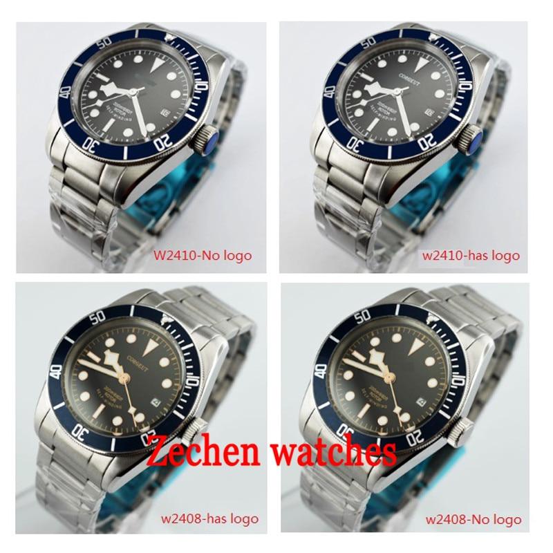 Corgeut 41mm Men's Mechanical Watch Stainless Steel Case Blue Bezel Sapphire Glass Miyota Automatic Mechanical Watch