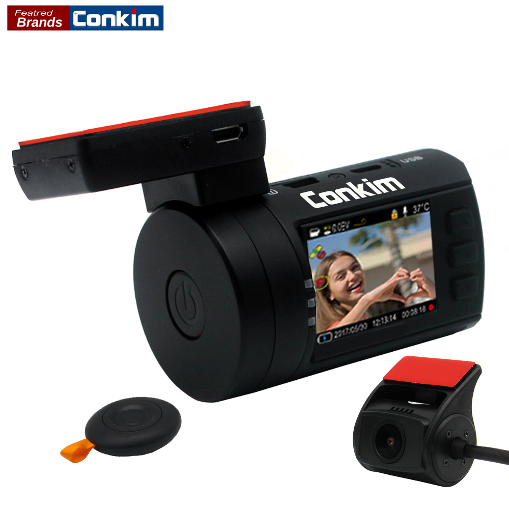 Conkim Mini 0906 Dua Kamera GPS Kereta DVR Pendaftar 1080P Full HD Rear View Camera Capacitor Dual Lens DVR Parking Guard Sensor