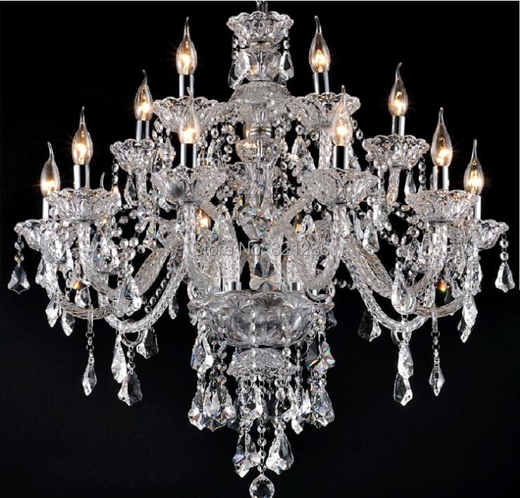 Nouveau Luxe Lustres K9 Lustre En Cristal grand 15 bras lustres en cristal Salon moderne Grand Luxe chandelie