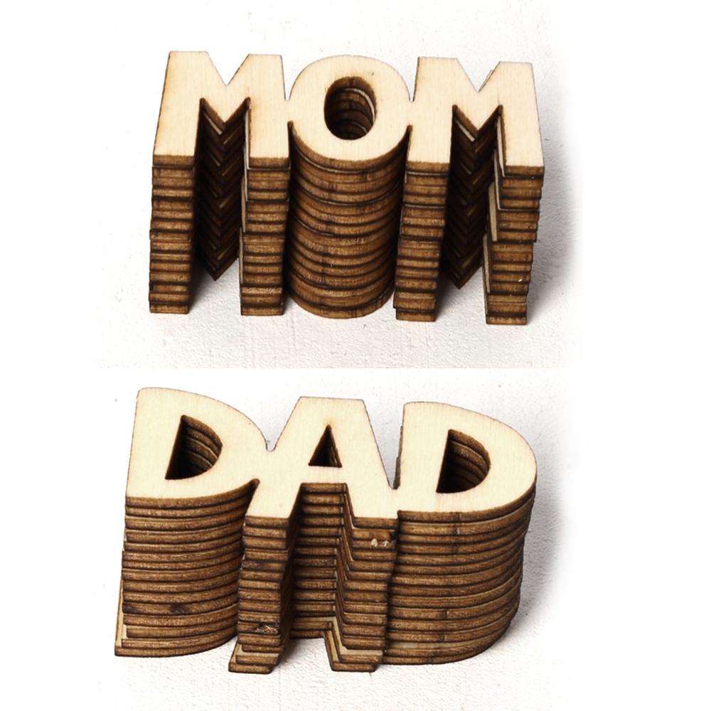 15PCS DAD MOM Shape Wood Laser Cut Slice DIY Hanging Ornaments Mother's Day Handcraft Home Party Decoration Supplies