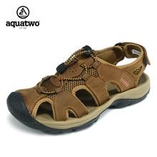 New Design 2017 Sandals Men Full Grain Leather Shoes Men Waterproof Beach Shoes Flip Flops US6.5-10# Summer Shoes Casual Sandals