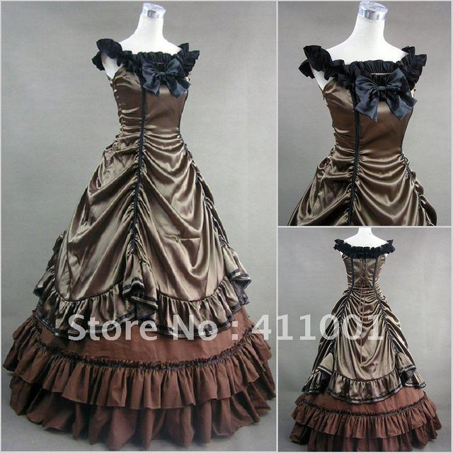 Brown Sleeveless Ruched Bowed Victorian Traditional Southern Belle ...