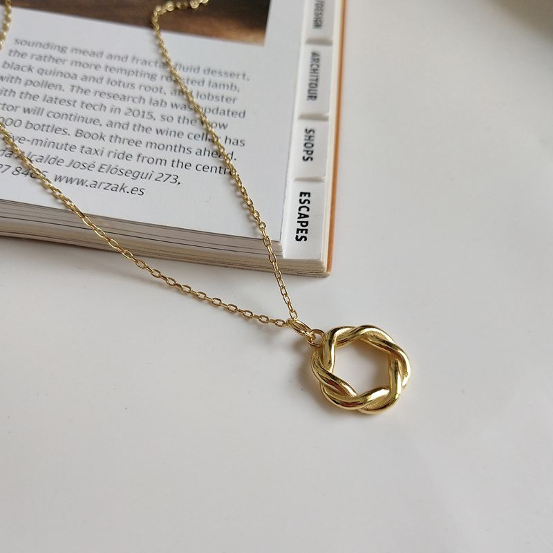 Silvology Goddess Wreath Weave Necklace Gold 925 Sterling Silver Twine Creative Elegant Pendant Necklace For Female Gold Jewelry