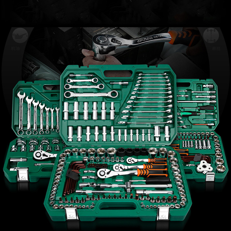 New General Household Car AUTO Repair font b Tool b font Kit with Plastic Toolbox Storage