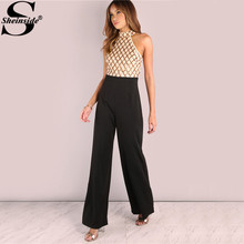 Sheinside Sequin Diamond Tailored Jumpsuit Elegant Colorblock Women Sleeveless Wide Leg Jumpsuits Halter Patchwork Sexy Jumpsuit