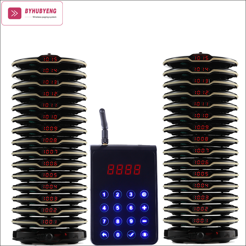 Avertisseur sonore intelligent de Table de système de téléappel de caboteur de Frisbee avec 1 émetteur de pc 30 téléavertisseur de pc 2 téléavertisseurs de Base de charge de pc appelant des téléavertisseurs