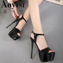 Новые летние пикантные женские босоножки на высоком каблуке модная обувь для стриптиза 16 см туфли-лодочки для вечеринок женские босоножки на платформе