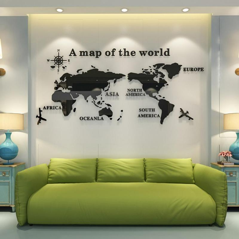 World Map Wall Stickers 3D Crystal Acrylic Living Room Sofa Background Decals