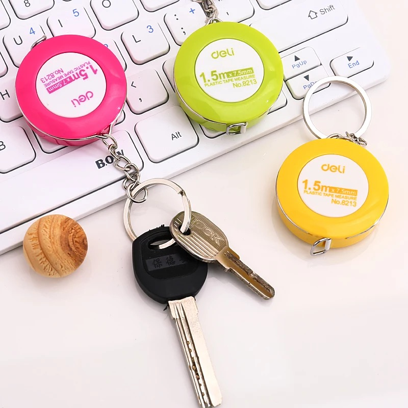 Kawaii Candy Color Multi Function Key Card Holder With Mini Tape Measure Creative Keychain Organizers Office Stationery Supplies