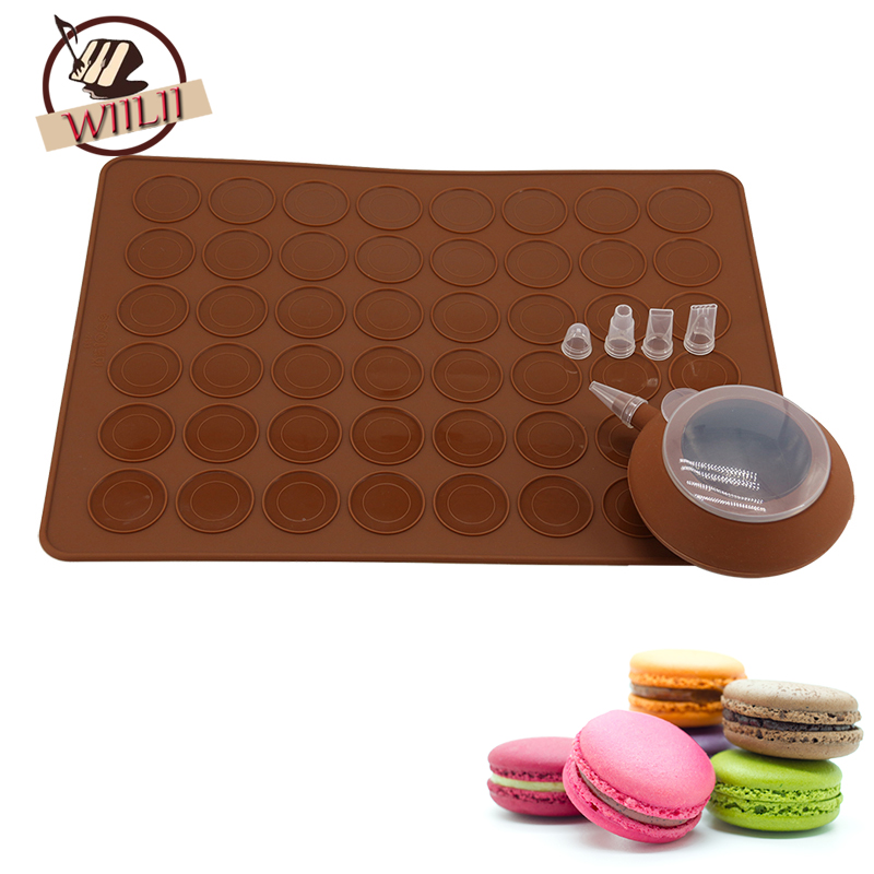 WIILII 2 Pcs/set Silicone Macaroon Pastry Nozzle Cake Cookies Muffin Oven Baking Sheet Mat Mould For Cake Decorating Tools