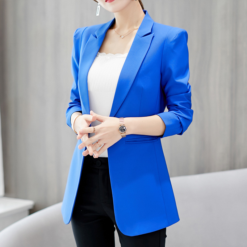 Women's Suit Jacket New Autumn And Winter Fashion Wild Large Size Small Suit Casual Slimming Solid Color Trend Ladies Jacket