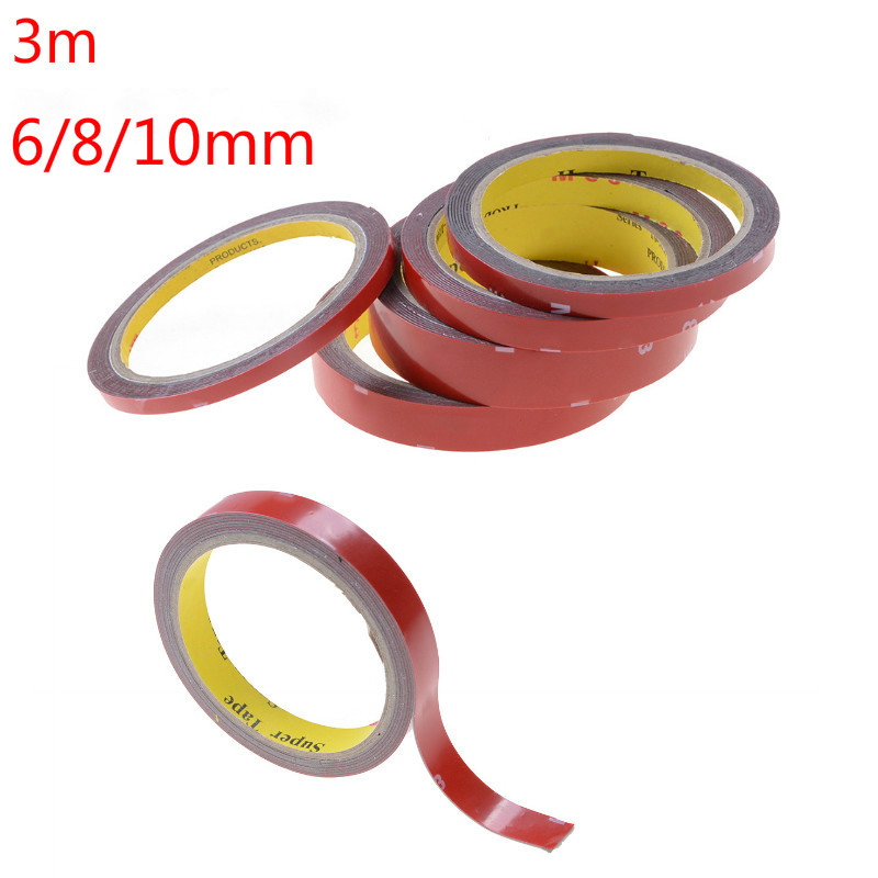 6/8/10mm 3M Strong Permanent Acrylic Foam Double-Sided Adhesive Glue Tape Super Sticky With Red Liner