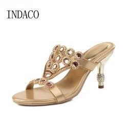 Femmes strass chaussures à talons hauts chaussures de fête bout ouvert sans lacet de luxe d'été diamant sandales à talons hauts grande taille 43 44