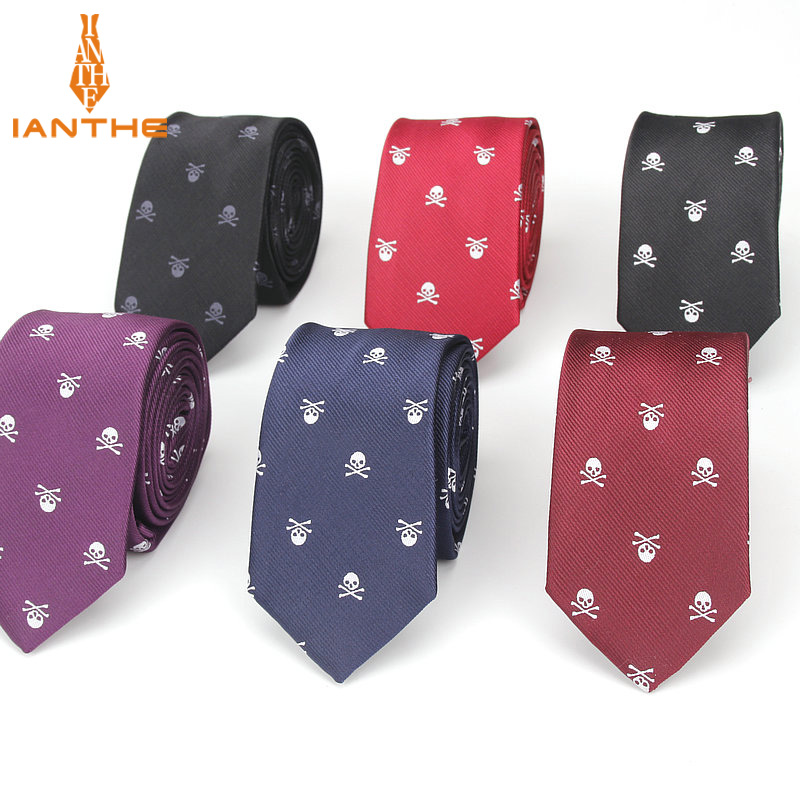 Brand New Men's Casual Slim Skull Ties For Men Classic Polyester Neckties Fashion Man Tie For Wedding Party Male Tie Neckwear