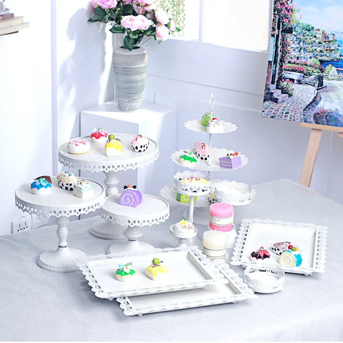 Wedding Decoration 12Pcs/Lot White Iron Cake Stands Party Cupcake Dessert Display Holder Plate Birthday Gifts Cake Tools Set