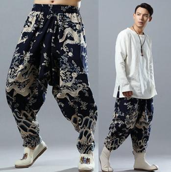 Nation style personality fashion mens printing pants harem pant men feet trousers pantalones hombre cargo pantalon homme