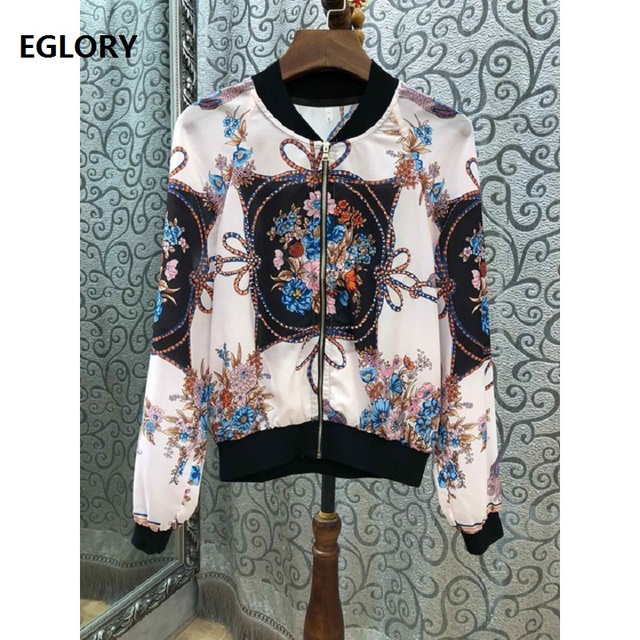 New 2019 Spring Fashion Jackets Women Tunic Print Long Sleeve Zipper Coat Ladies Casual Bomber Jacket Coat Female Outwear Casaco