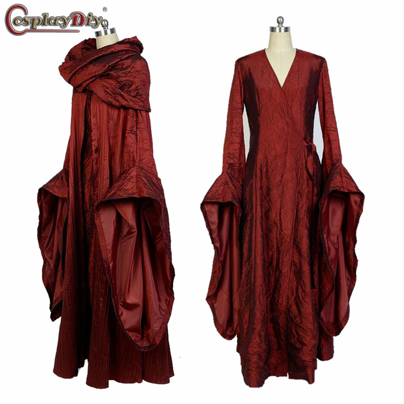 Cosplaydiy Game of Thrones Costume Melisandre Costume Dress Cloak Adult Women Halloween Carnival Party Cosplay Custom Made