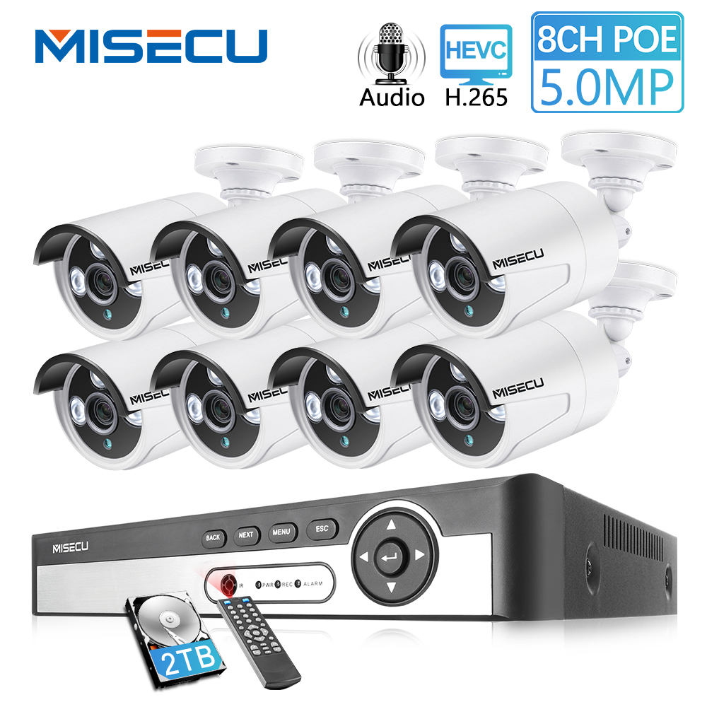 MISECU 8CH 5MP 4MP POE Security Camera System Kit H 265 Audio Record IP Camera IR