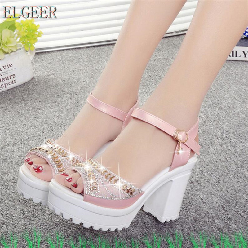 ELGEER 2019 new thick with sandals female summer diamond fish mouth thick bottom muffin waterproof platform ELGEER 2019 new thick with sandals female summer diamond fish mouth thick bottom muffin waterproof platform with high