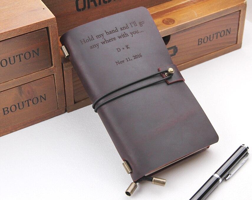 Cuaderno de cuero personalizado, hecho a mano Vintage recargable diario de viaje, cubierta de cuero del cuaderno del viajero, texto personalizado