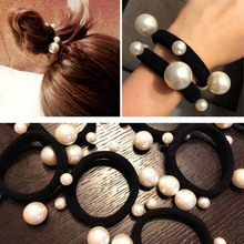 CN Hair Accessories Women Scrunchies with Pearl Elastic Band Girls Ponytail Holder Headband Headwear