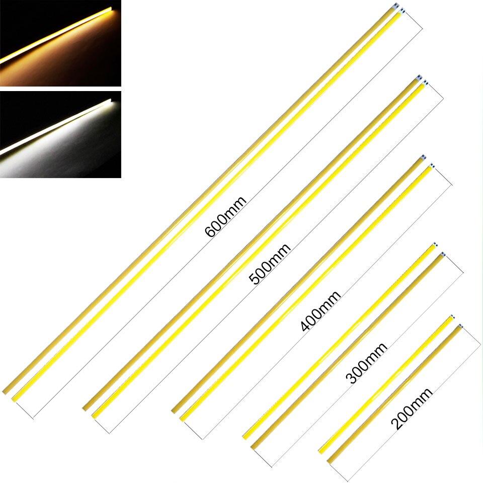 10pcs/lot 600MM 500MM 400MM 300MM 200MM 12V Diammable LED COB Light Strip For Car Lighting House LED Lamp Decor Bar Lights Bulb