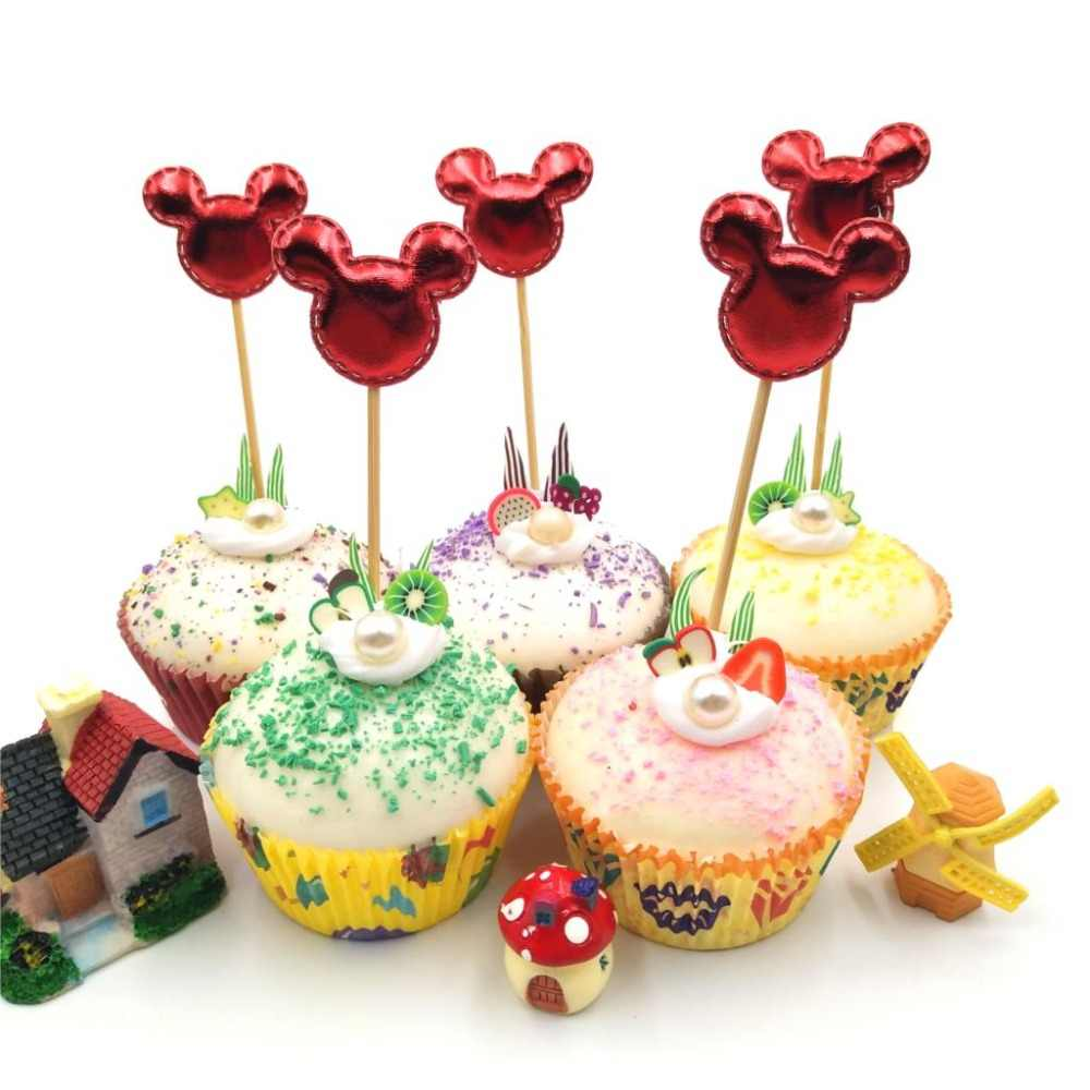 5 unids/lote Red Mickey minnie Mouse Cupcake Toppers cumpleaños fiesta decoraciones Baby Shower niños fiesta suministros pastel Toppers