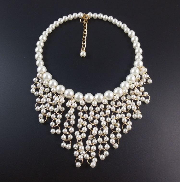 0bcd93b689fb 2015 nueva moda Multilayer collar de perlas gargantilla moda Multi cadenas  dorado cruz granos de la perla collares declaración para mujeres en  Gargantilla ...