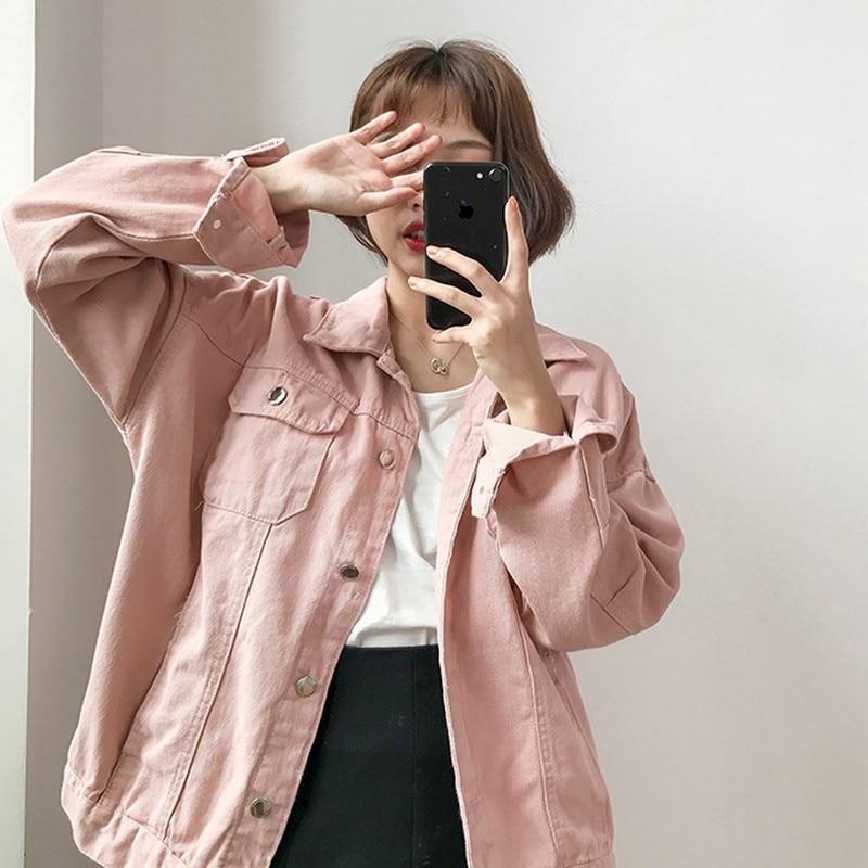 Candy Solid Color Denim Jackets Coat Turn down Collar Women Jeans Jackets Female Basic Coats Outwear Jaqueta Feminina