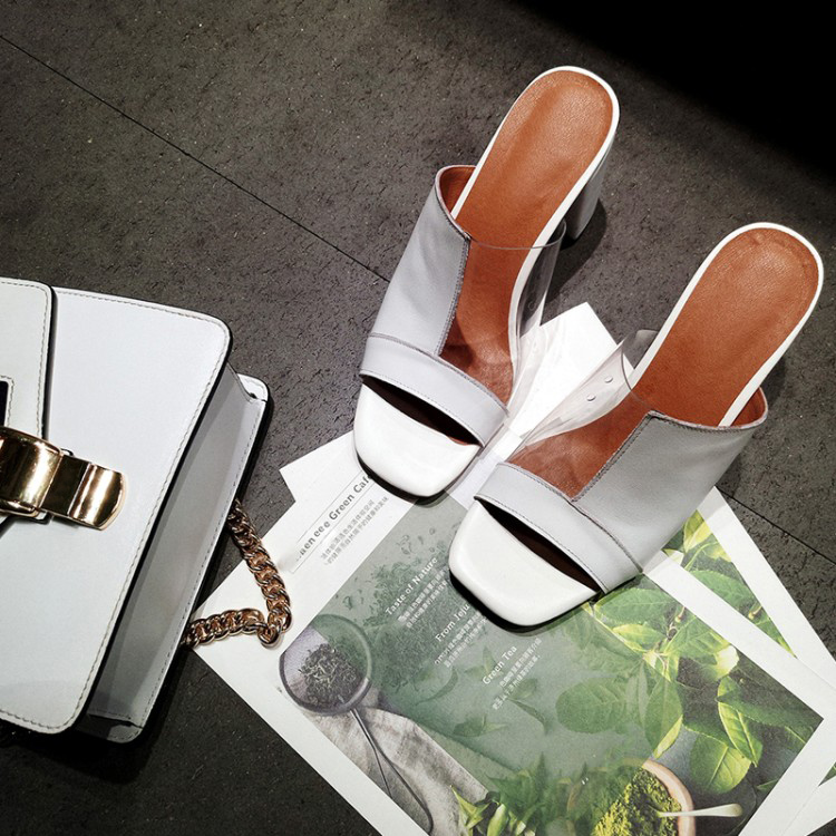 Модные тапочки на квадратном каблуке с открытым носком; женские пикантные босоножки без шнуровки на каблуке; модные белые босоножки из искусственной кожи в стиле пэчворк на массивном каблуке - 4