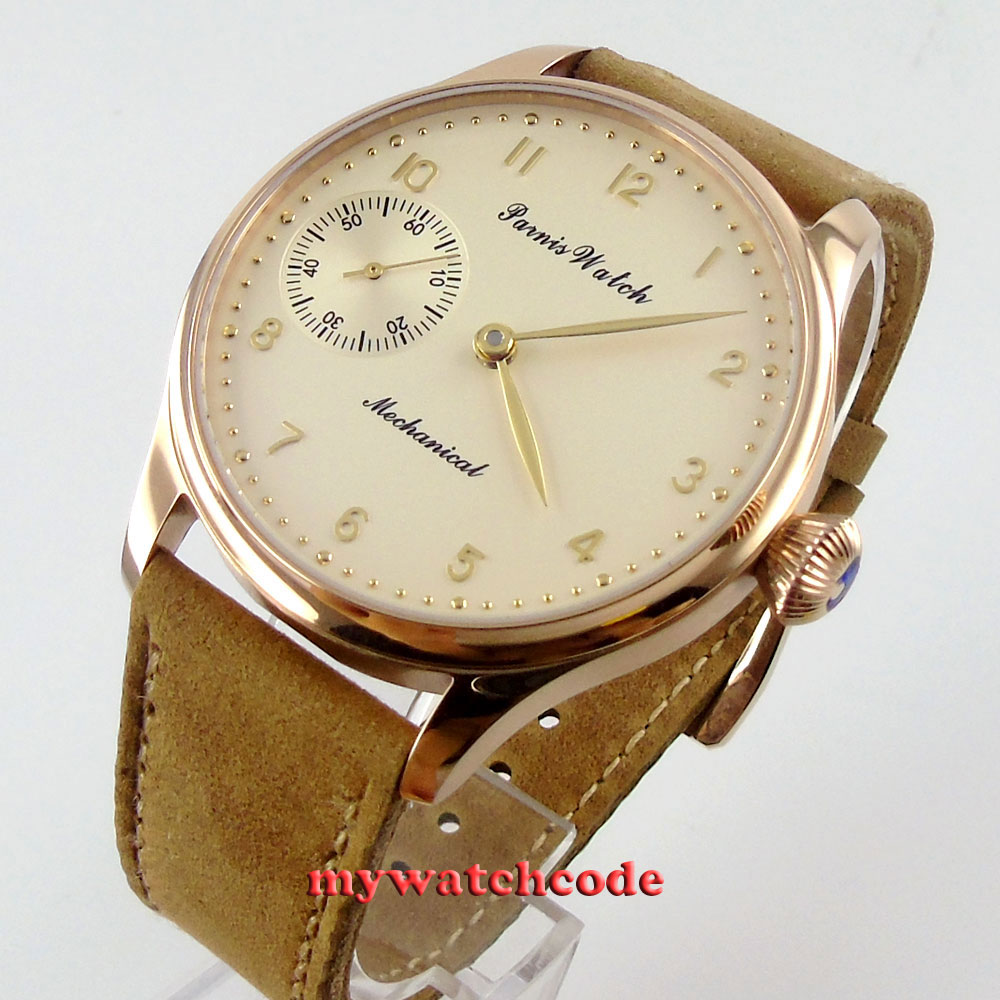 parnis light yellow dial golden case 6497 movement hand winding mens watch P448 42mm parnis pink dial gmt moon phase hand winding movement mens watch pa061