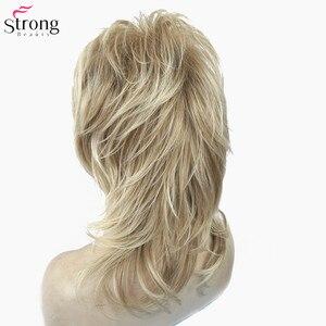 Image 5 - Strongbeauty perucas sintéticas para as mulheres cabelo natural ombre loira/marrom destaques médio encaracolado em camadas capless perucas cosplay