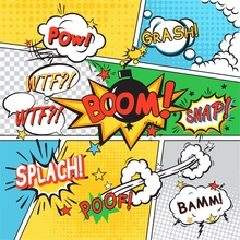 Laeacco Comics Boom Bomb Exclamation Baby Children Portrait Scenic Photographic Backdrop Photography Background For Photo Studio