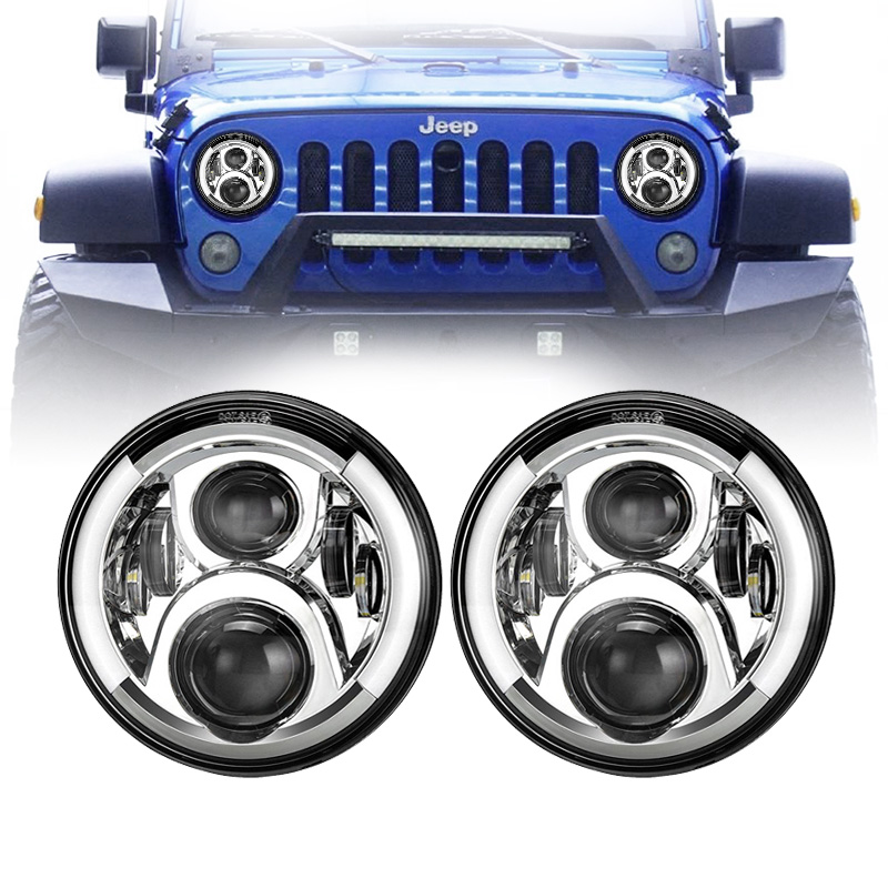 7 inch Lada Niva Led Headlight  and DRL Halo Angel Eyes & Turn Signal 97-18 Jeep Wrangler JK TJ & Wrangler Unlimited7 inch Lada Niva Led Headlight  and DRL Halo Angel Eyes & Turn Signal 97-18 Jeep Wrangler JK TJ & Wrangler Unlimited